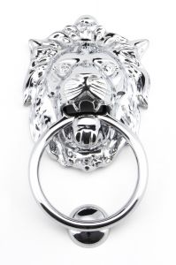 From the Anvil Polished Chrome Lions Head Door Knocker | 91998