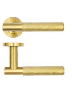 Satin Brass Orta Knurled Lever on Round Rose   RT060PVDSB