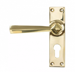 Set From the Anvil Polished Brass Straight Lever Euro Lock Set | 45761