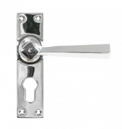 Set From the Anvil Polished Chrome Straight Lever Euro Lock Set | 45762