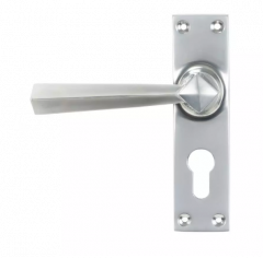 Set From the Anvil Satin Chrome Straight Lever Euro Lock Set | 45763