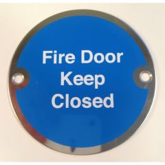 Polished Stainless Steel 76mm dia. Circular Fire Door Keep Close