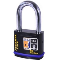 Federal 732 Sold Secure Silver CEN4 Long Shackle Padlock with keying options