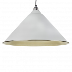 From the Anvil Light Grey & Hammered Brass Hockley Pendant | 49523LG