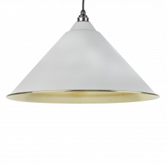 From the Anvil Light Grey & Smooth Brass Hockley Pendant | 49524LG