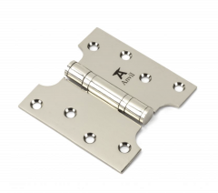 """Pair From the Anvil Polished Nickel 4x2x4"""" Parliament Hinge 
