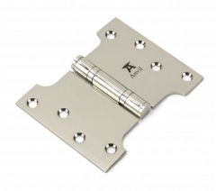 """Pair From the Anvil Polished Nickel 4x3x5"""" Parliament Hinge 