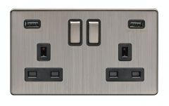 Eurolite Satin Nickel 2 Gang 13A DP Switched Socket with USB   ECSN2USBSNB