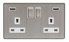 Eurolite Satin Nickel 2 Gang 13A DP Switched Socket with USB   ECSN2USBSNW