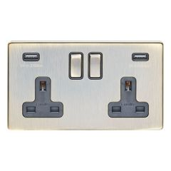 Eurolite Antique Brass Plate 2 Gang 13A DP Switched Socket with USB   AB2USBB