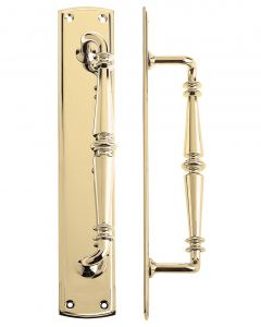 Polished Brass 382 x 65mm Pull Handle on plate | FB106PB