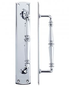 Polished Chrome 382 x 65mm Pull Handle on plate   FB106CP