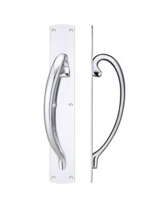Polished Chrome Pull Handle with Backplate - 457 x 76mm - Left Hand | FB118LCP