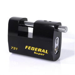 Federal FD731 80mm Rectangular Steel Padlock with keying options