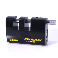 Federal FD731DS 90mm Double Slotted Rectangular Steel Padlock with keying options