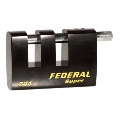 Federal FD741DS 100mm Double Slotted Rectangular Steel Padlock with keying options
