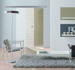Planeo 120 Comfort Stainless Steel Effect Wall Fix Sliding Glass/Wood Door System - 2000mm