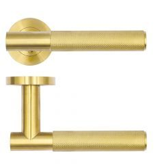 Satin Brass Orta Knurled Lever on Round Rose | RT060PVDSB