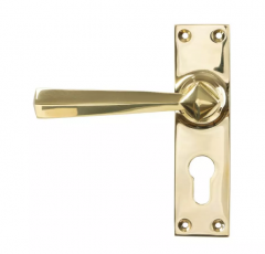 Set From the Anvil Polished Brass Straight Lever Euro Lock Set   45761
