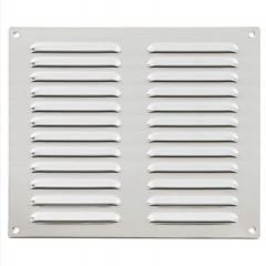 242x242x1mm Satin Stainless/Polished Chrome Hooded Louvre Vents | HL6SSCP