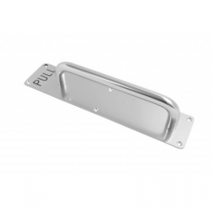 225mm SAA 19mm dia Pull Handle on plate engraved PULL